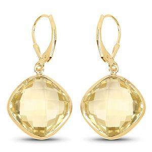 Quintessence Large drop lemon 🍋 quartz earrings